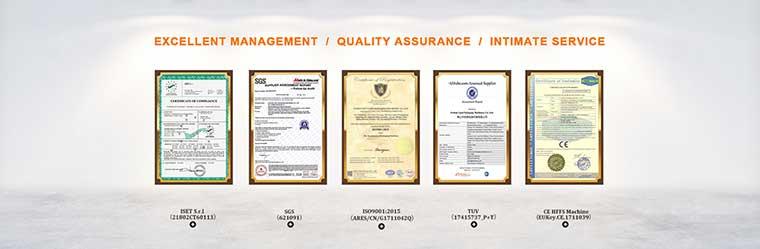 Packing machine certificate