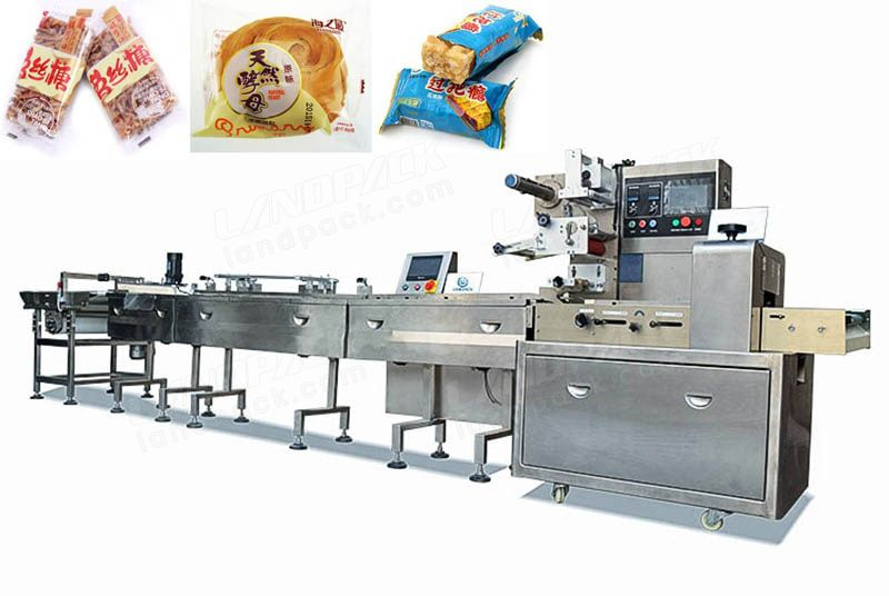 Feeding And Packing System For Bread, Waffle, Swiss Rolls Etc.