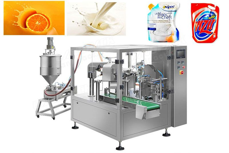 Liquid/paste rotary filling machine for pre-made pouch. LD-8200L/LD-8250L