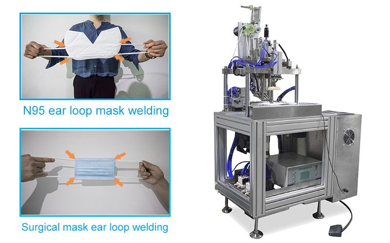 Full Automatic Surgical Masк and N 95 Masк Ear Loop Welding Machine.