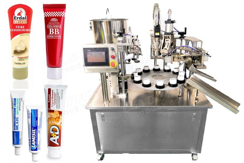 Semi-Automatic Rotary Type Tube Filling And Sealing Machine.
