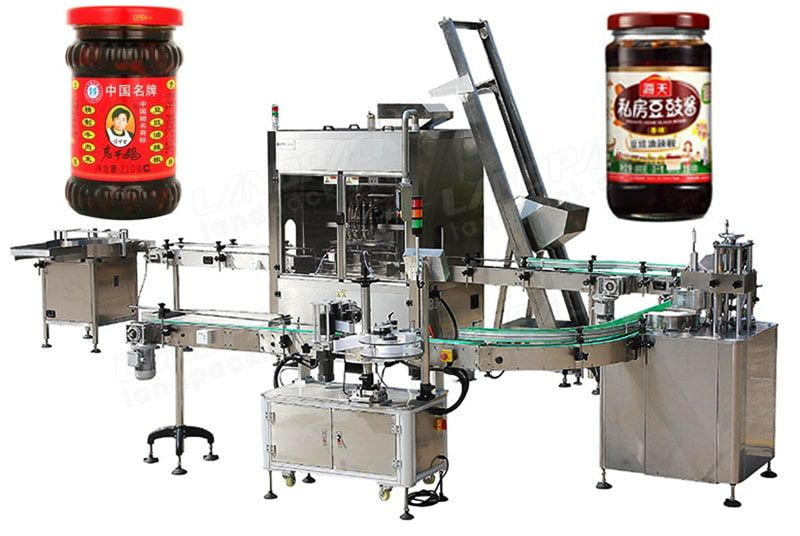 Automatic sauce filling and capping production line