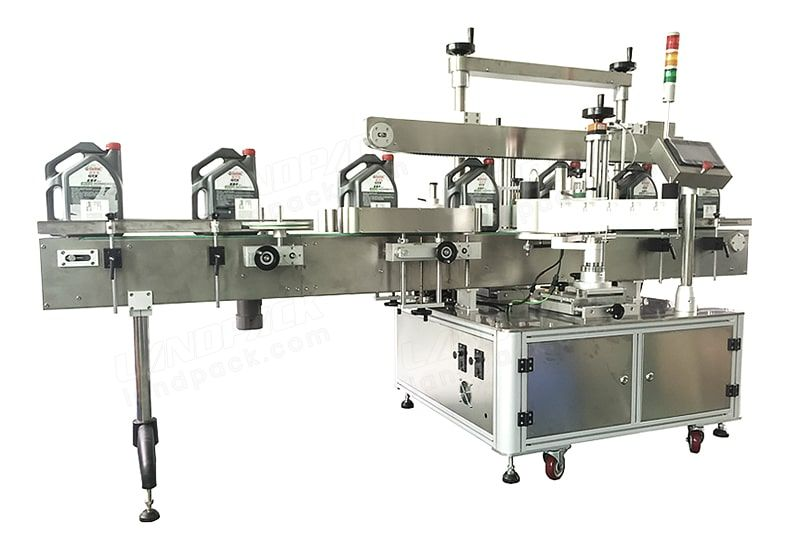 Automatic double side flat bottle sticker labeling machine, labeling equipment for 2 side.