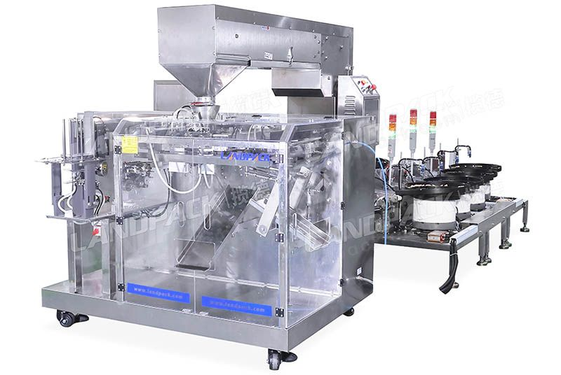 Horizontal Premade Pouch Packing Machine With Multiple Vibration Disks for Mixed Nuts
