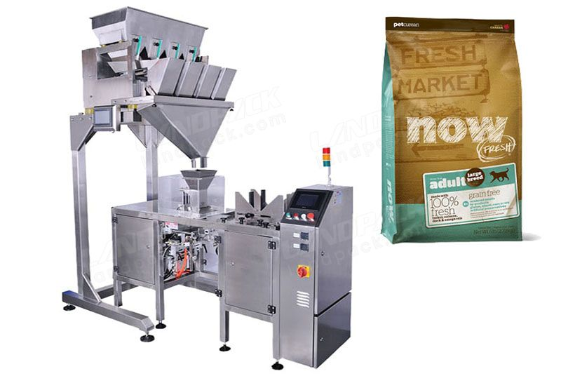 Automatic Pet Food Pre Made Pouch Packing Machine With 4 Head Linear Weigher