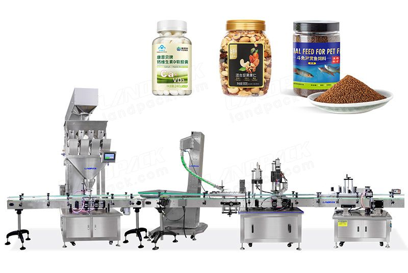 Autoamtic Dry Fruit Weighing Filling Capping And Labeling Line