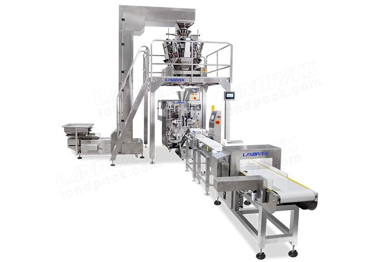Snacks Pouch Packing Machine With Labeling Machine Metal Detector And Weight Selection Scale