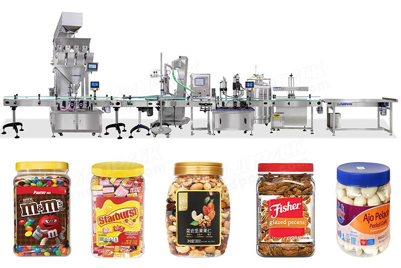 Automatic Candy Bottles Weighing Filling Capping and Labeling Line